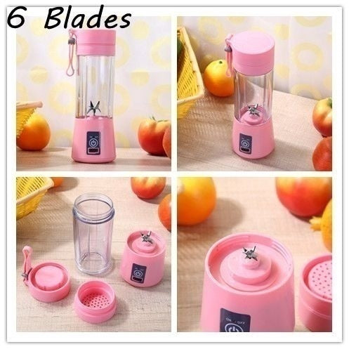 2/4/6 Blades 0.4L USB Portable Electric Juice Cup Fruit Smoothie Machine Juicer Maker Blender Sports Bottle for Weight Loss Yoga Nutritional Balance