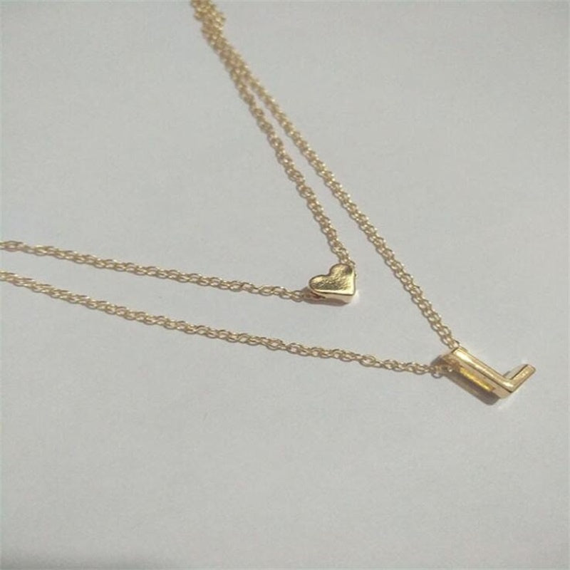 1 Pc Gold 26 Letters Long Sweater Chain Choker Necklaces Tiny Love Heart Pendants for Women Chain Necklace Chain Chocker