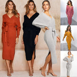 Women Knitted Sweater Dress Wrap Belted Tunic Midi Vestidos Long Sleeve Double V Neck Split Casual Autumn Dresses
