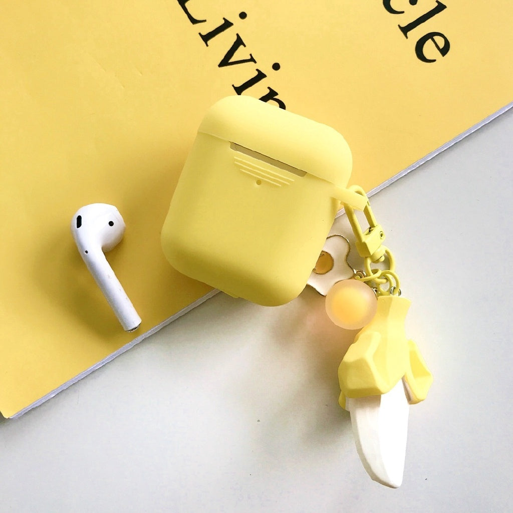 For Apple Airpods 1 2 Protective Cover Cute Cartoon Fruit Banana Pendant Silicone Case with keychain