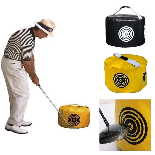 Professional Golf Power Impact Swing Aid Practice Training Smash Hit Strike Bag Trainer Black Yellow