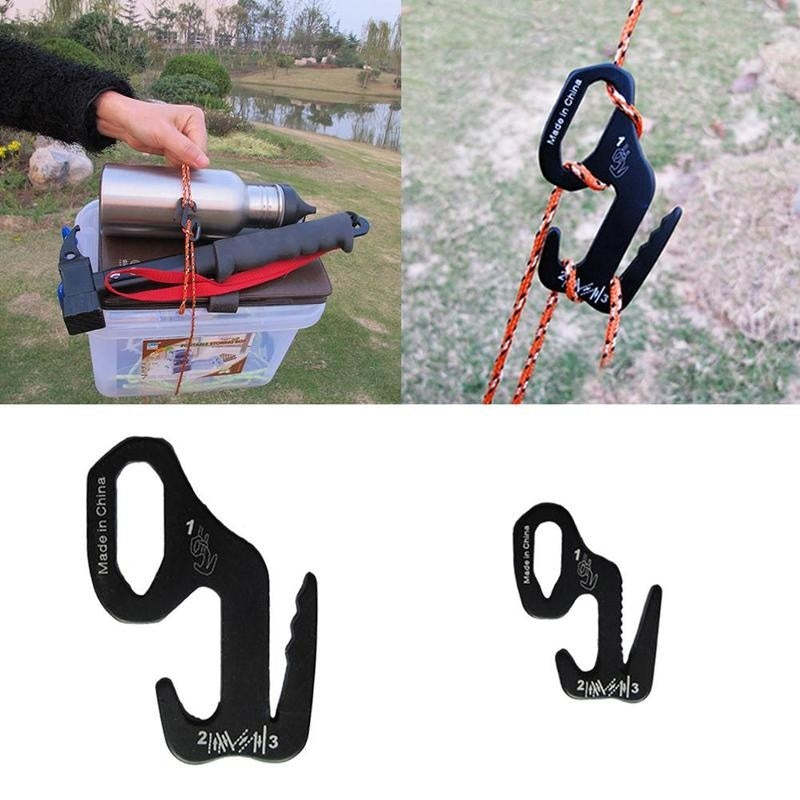 2Pcs Small Aluminum Rope Tightening Mechanism With Carabiner Clip S/L