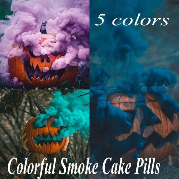 10Pcs/Box Colorful Smoke Cake Pills Show Smoke Bomb Divine Halloween Photography Aid Decoration Tool Props Round Party DIY Decor
