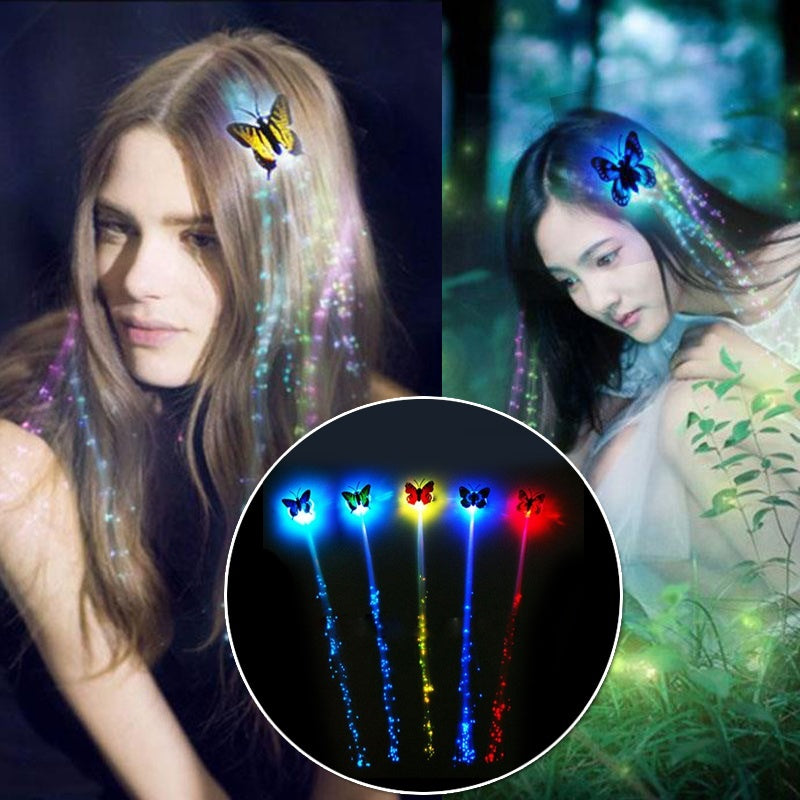 Colorful LED Flashing Hair Braid Butterfly Hair LED Butterfly Luminous Dice Party Night Glow Props Party Valentine's Day Decor