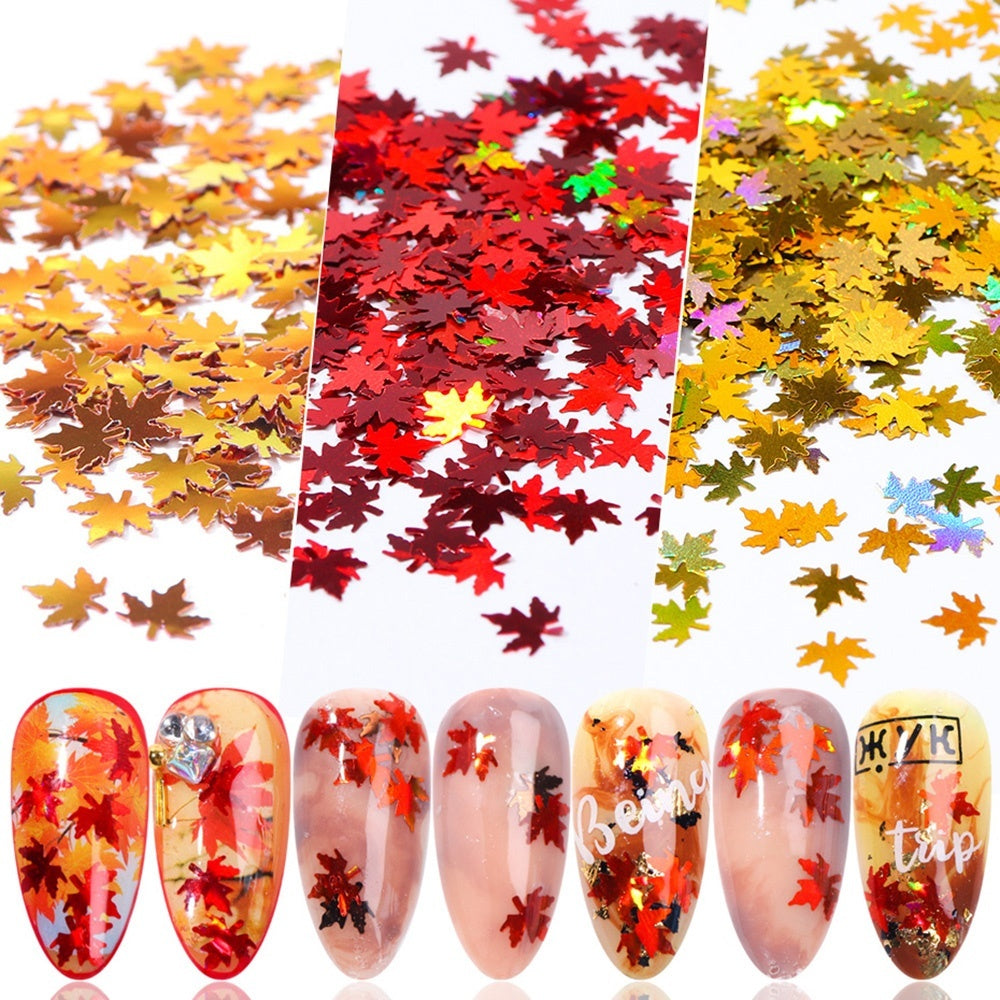 1 Box Maple Leaf Nail Art Sequins Gold Fall Leaves Flakes Manicure Nails Glitter Autumn Decorations
