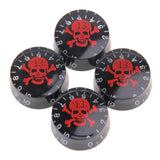 4pcs/set Speed Knobs Guitar Parts, 4pcs Black Speed volume Knob with Skull Crossbones Electric Guitar plastic