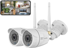 Load image into Gallery viewer, Outdoor Security Camera, Wansview 1080P Wireless WiFi Home Surveillance Waterproof Camera with Night Vision, Motion Detection, Remote Access, Works with Alexa -W4-2PACK
