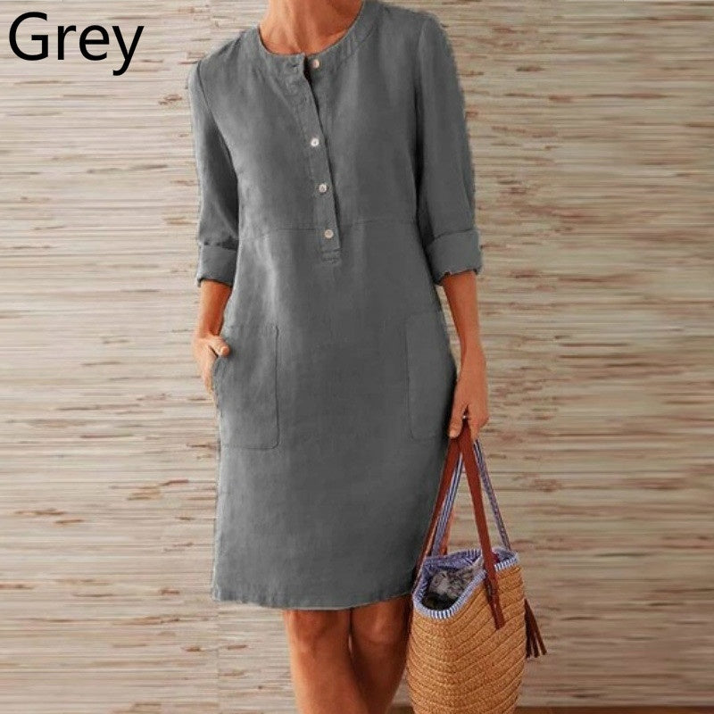 Women Casual Round Neck Dress Cotton and Linen Loose Botton Plus Size Long Sleeve Midi Dress
