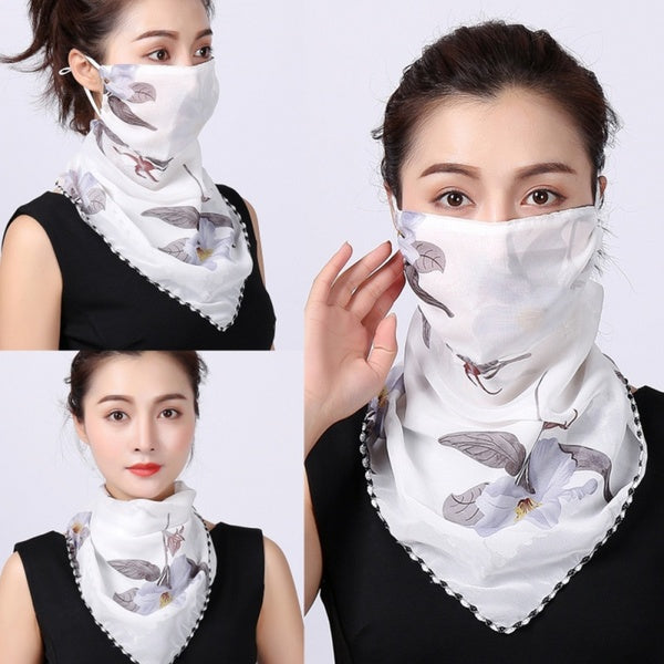 1PC Dust Proof Women's Neck Scarf Casual Sun Mask Chiffon Scarf-Face Covers Hair Scarf Protective Riding Cycling Mask Protective Silk Scarf Handkerchief
