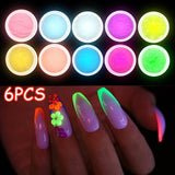 6Pcs Nail Glitter Powder 12 Color Phosphor Luminous Glow Pigment Powder for Nail Polish DIY Glitter
