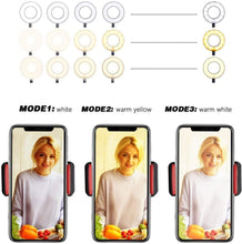 Load image into Gallery viewer, Selfie Ring Light with Cellphone Holder - Ring Light Stand for Youtube Live Stream Makeup Camera Lamp for IPhone Android
