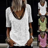 2020 New Fashion Women Short Sleeve Deep V Neck Paneled Gradient Print Short Sleeves Casual T-shirt Slim Fit Women Tops Tee Blusas Femininas