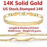 14K Solid Yellow Gold Men's Bracelet Chain For Men Jewelry Women Jewelry 215mm 8.5', Width:5mm,Stamped 14K