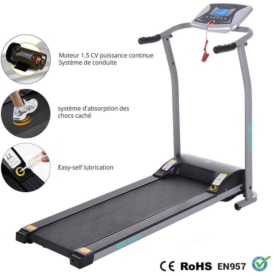 Archer treadmill, with LCD and pulse rate handle, electric running, walking, jogging, exercise machine training equipment, suitable for home gym Office