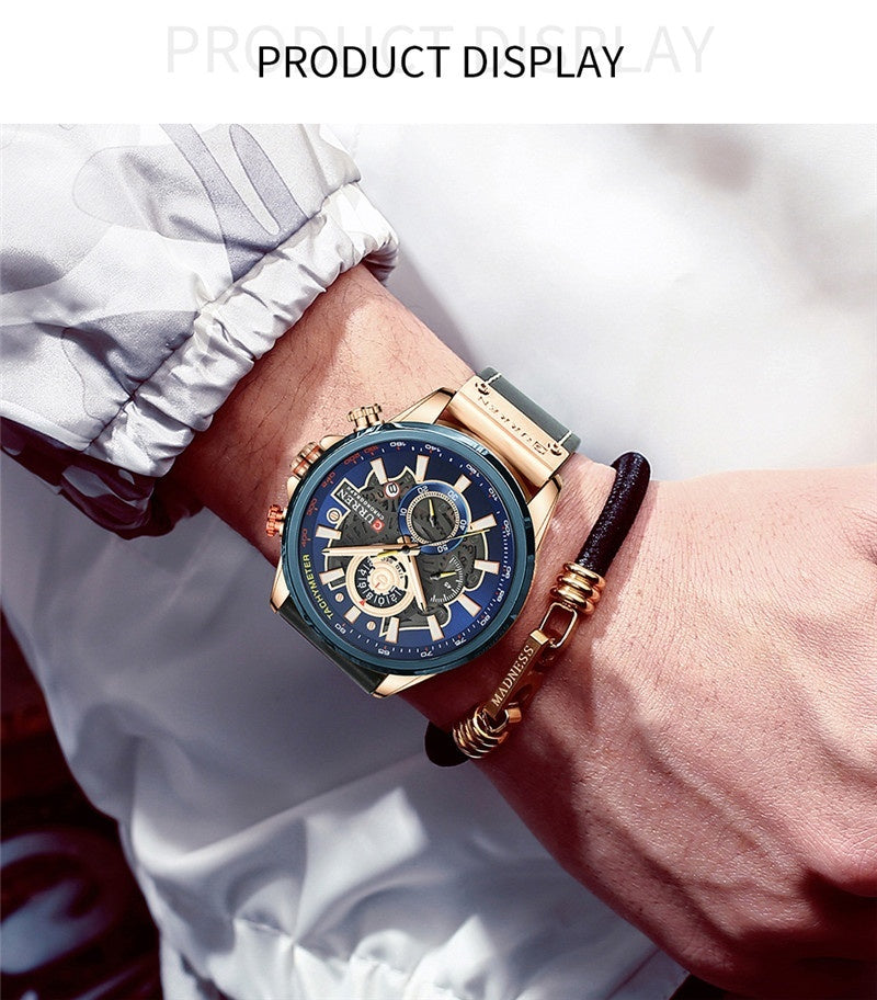 Curren men's luxury brand business casual new waterproof quartz multi-function calendar belt watch