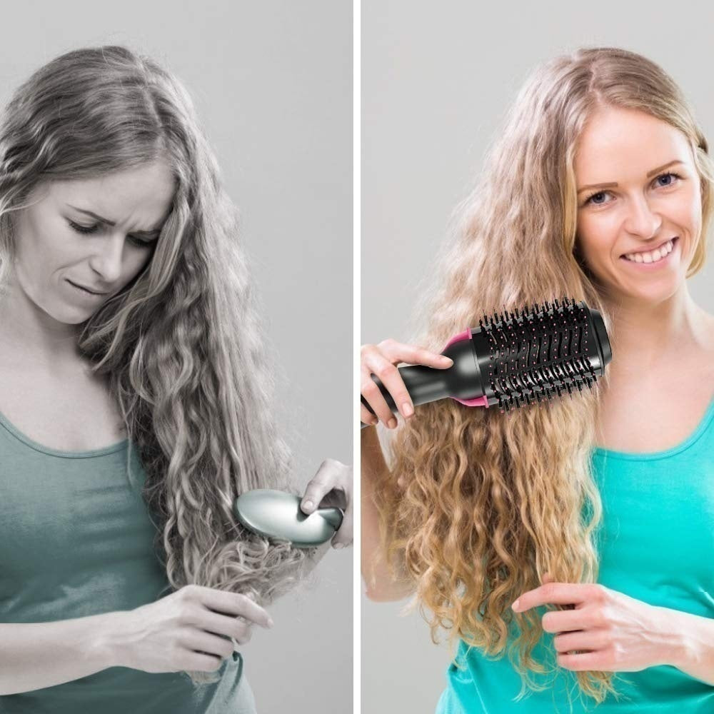 Hot Air Brush - One Step Hair Blow Dryer Brush & Styler, 3-IN-1 High-power Negative Ions Straightener & Curly Comb Brush for All Hair Types (1000W),Black,Gold