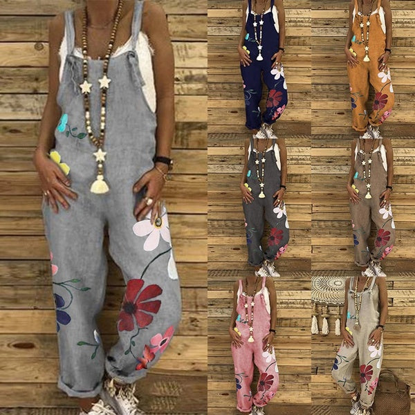 Fashion Women Sleeveless Dungarees Overall Long Playsuit Jumpsuit Romper Pants Trousers Printed Romper Pants