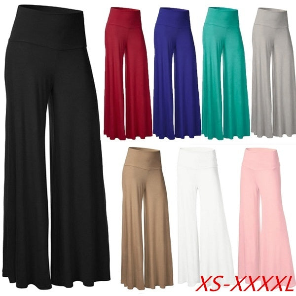 Women s New Fashion Solid Color Pants Loose Casual Trousers Wide Leg Pants