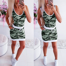 Load image into Gallery viewer, Summer Women Short Dress Sleeveless Waist Dress Camouflage Dress Bodycon Slim Fit Dress Plus Size XS-8XL