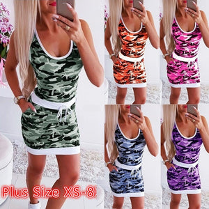 Summer Women Short Dress Sleeveless Waist Dress Camouflage Dress Bodycon Slim Fit Dress Plus Size XS-8XL