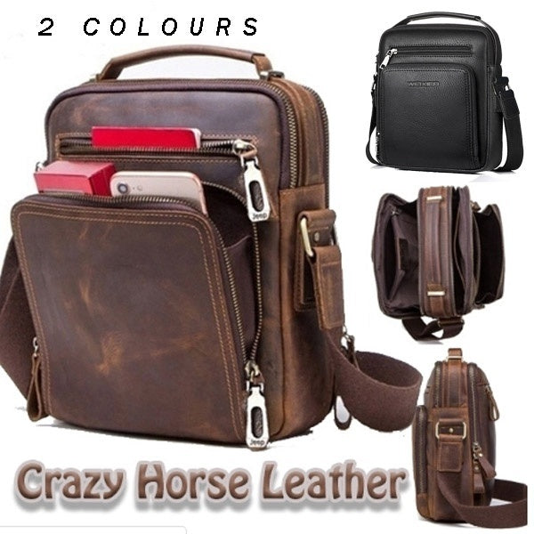 Top Quality Fashion Business Shoulder Bag Men's Shoulder Bags Leather Messenger Bags Man Business Shoulder Bag Fit Ipad for 9.7inch Inch Black Brown