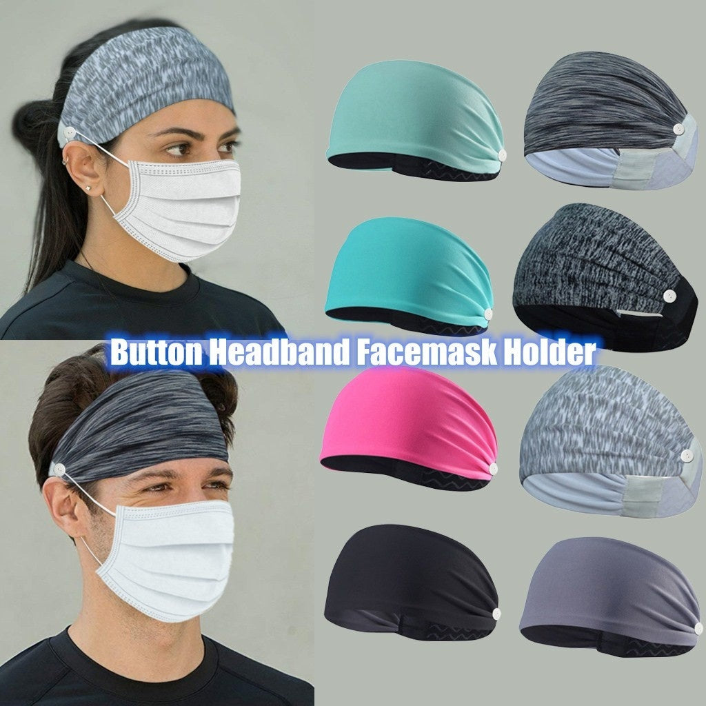 Button Headband for Nurses Women Men Elastic Turban Head Wrap Headband Hair Band Cute Hair Accessories Yoga Sports Workout Turban Heawrap for Doctors and Everyone - Protect Your Ears