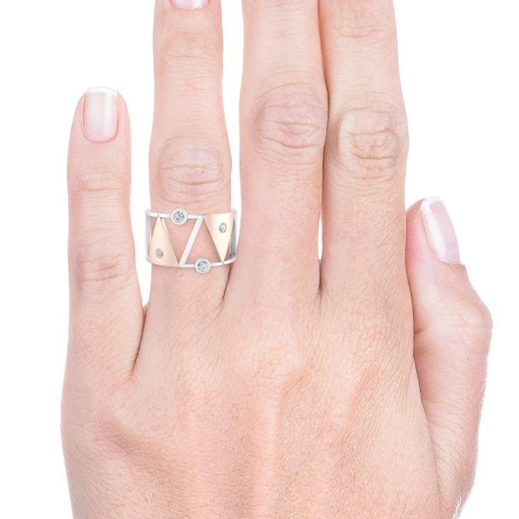 Individual Creativity 925 Sterling Silver & 18K Rose Gold Two Color Geometric Triangle Ring Birthstone Bride Wedding Engagement Party Ring Size 5-11