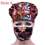 Scrub Cap Floral Bouffant Sanitary Surgical Hat with Sweatband Cotton Adjustable Elastic Nurse Hat with Reusable Masks