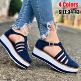 NEW Women Fashion Summer Sandals Casual Daily Comfy Buckle Strap Shoes Platform Shoes Hollow Out Round Toe Flat Heel Sandals Plus Size 34-43
