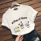 Funny Cute Dog Sleeping Wifi Food Stay At Home Graphic Tee Shirt Casual Cartoon Short Sleeve T Shirt Tops For Women Men