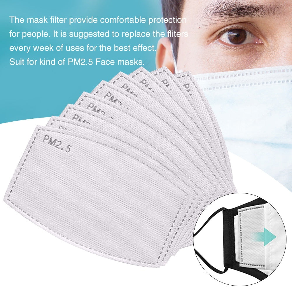 10/20/30/50/100PCS PM2.5 Activated Carbon Filter 6 Layers Replaceable Anti Haze Filters Protective Mouth Filter