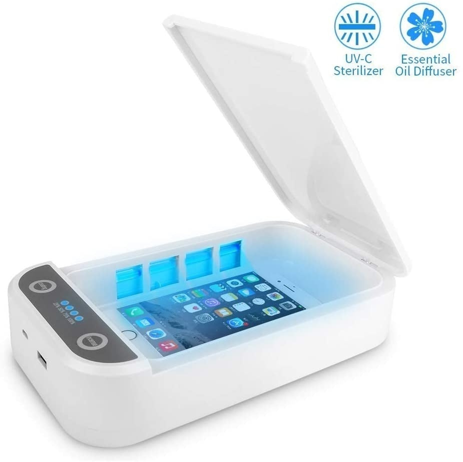 UV Cell Phone Sanitizer Portable Smart Phone Sterilizer Aromatherapy Function Disinfector Phone Cleaner USB Charging,White,