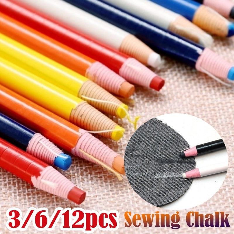 Home Sewing Tools 3/6/12 Pcs Fabric Pencil Chalk Marker Pen Quality Sewing Marker Pen Cut-free for Tailor Sewing Tools