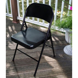 Plastic Development Group Outdoor Steel Metal Folding Chair, Black (4 Pack)