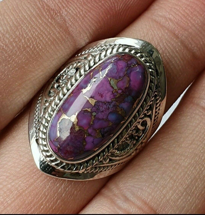 Natural Purple Turquoise 925 Sterling Silver Ring Large Stone HANDMADE GEMSTONE Ring Vintage Style Rings Wedding Engagement Party Jewelry Size 5-11
