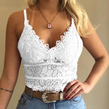 Women Fashion Deep V Neck Floral Lace Bra Sexy Spaghetti Straps Underwear Summer Slim Push Up Crop Top Hollow Out Sleeveless Bra Vest S-3XL