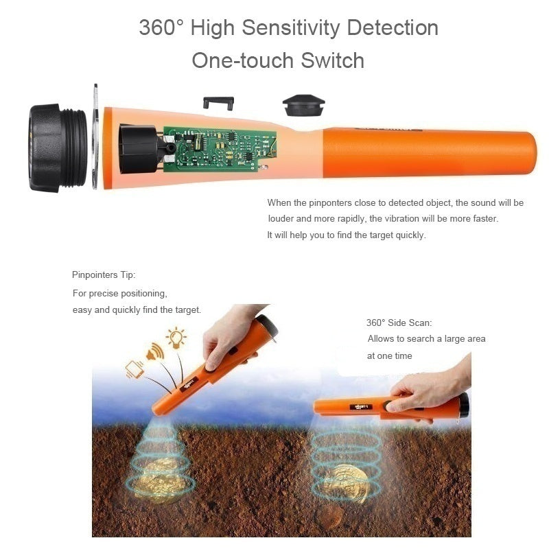 New Enhanced Version Metal Detector Automatic Precise Positioning Waterproof Needle Pointer Probe Hand-held Farther Detection Range More Accurate Detection