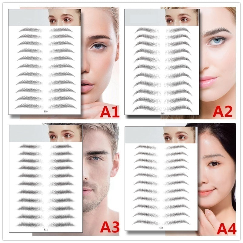 4D 11 pairs Stickers Grooming Shaping Brow Shape Women Makeup Beauty Eyebrows 4D Hair-like Eyebrows Waterproof Lasting Eyebrow Tattoo Sticker False Eyebrows