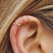 Load image into Gallery viewer, 5Pcs/set Simple Ear Cuffs for Women Gold Plated Leaf Ear Cuff Earring Climbers Cross Earcuff Ear Clip No Piercing Fake Cartilage Earring
