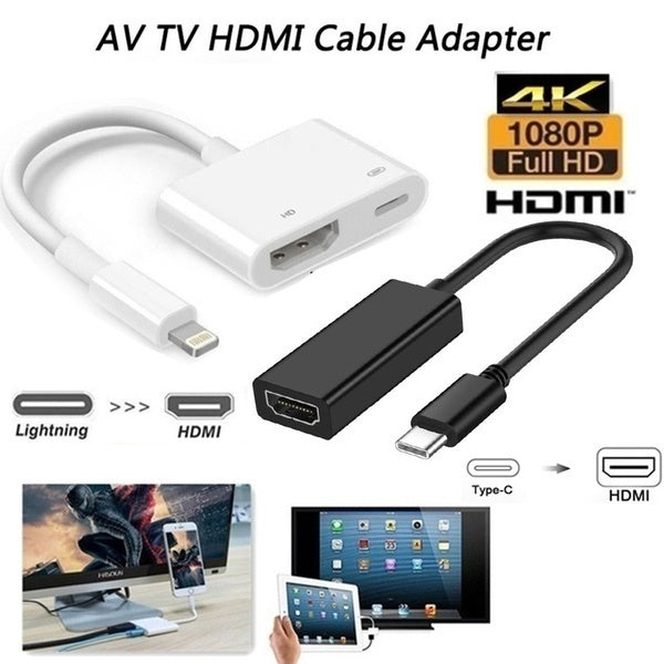 1080P Lightning/Type-c To HDMI Cable,HDMI Adapte for IPhone To TV Digital AV Adaptador Kabel Phone Accessories for IPhone IPad IOSe