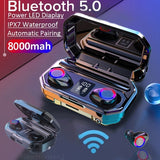 2020 True Wireless Sweatproof In-ear Stereo Sports Earbuds with Micrphones Noisecanceling Hifi Bass Bluetooth Earphones Mini Headset With Charging Case(Monaural Version 100/1500mAh or Led Binaural Version 4000/8000mAh)