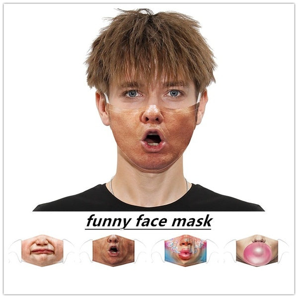 1Pcs 3D Digital Printed Funny Cotton Mask, Washable and Reusable, PM2.5 Filter Can Be Installed