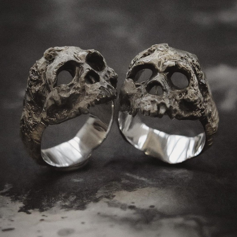 316L Stainless Steel Gothic Vintage Skull Ring Punk Boy Biker Jewelry