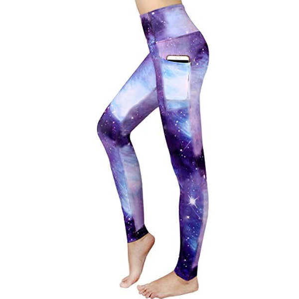 Women's High Waisted Sport Leggings Breathable Elastic Workout Yoga Pants Galaxy Printed Yoga Leggings Tights Plus Size
