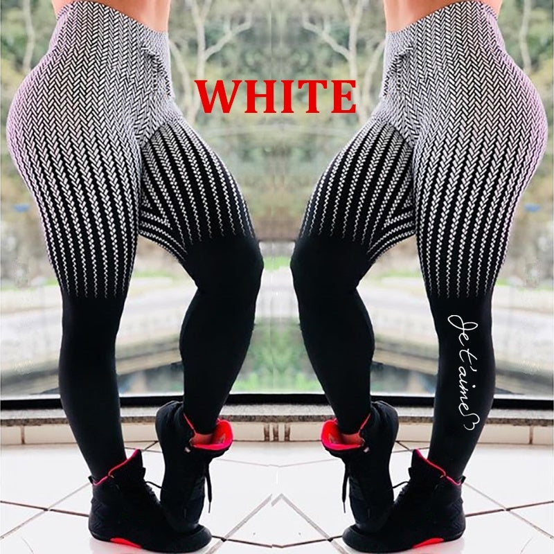 High Elastic Women's Fashion High Waist Letter Print Long Pants Skinny Drawstring Sport Yoga Trousers Gym Workout Leggings Plus Size