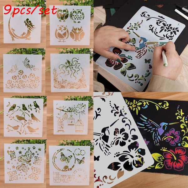 9PCS/SET Hot Stamp Album Decorative Layering Stencils Scrapbooking Wall Painting Embossing Template