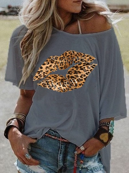 Women Fashion Leopard Lips Off Shoulder Casual T-shirt