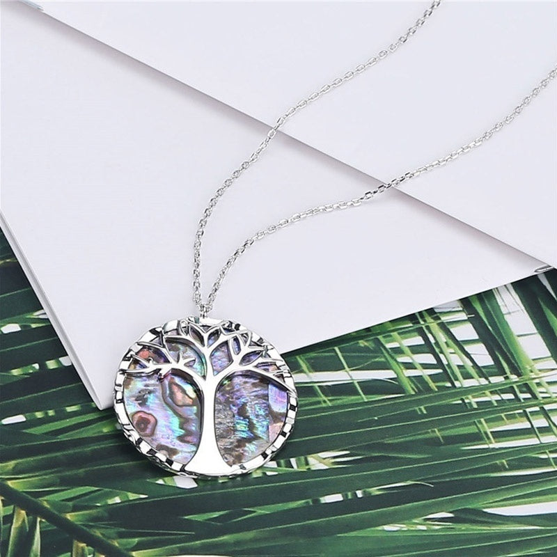 New Fashion 925 Sterling Silver Tree Of Life Pendant Natural Abalone Shell Necklace Glamour Women Wedding Jewelry