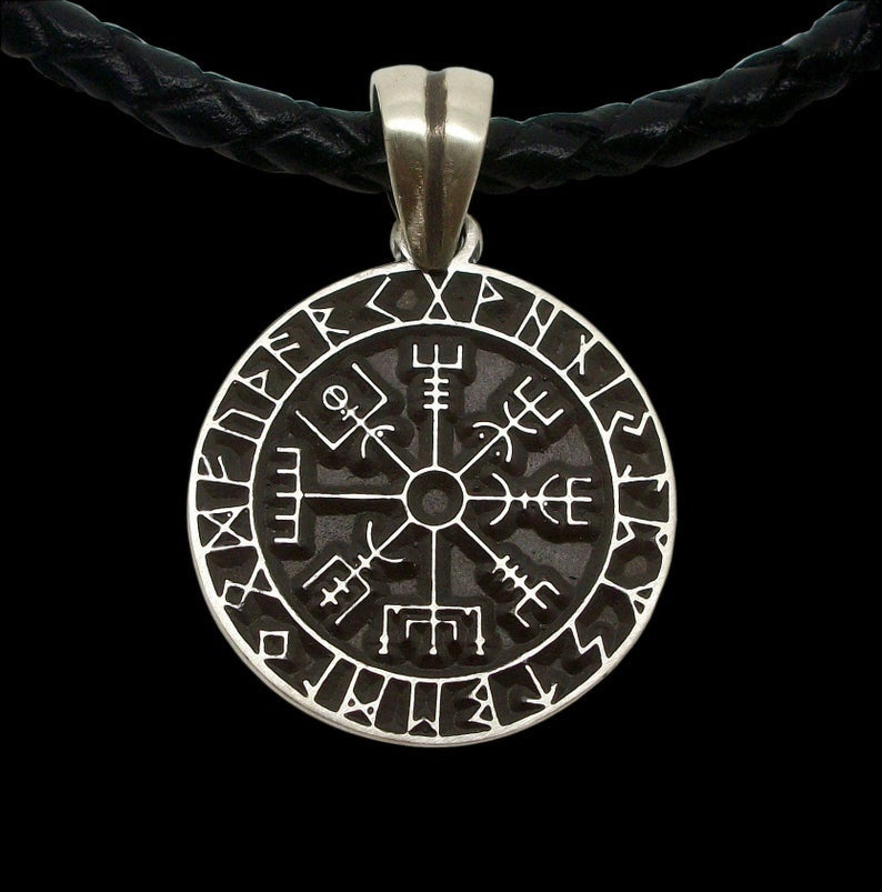 Vintage Nordic Viking compass pendant Odin rune necklace 316L stainless steel amulet necklace fashion leather necklace men's jewelry gift