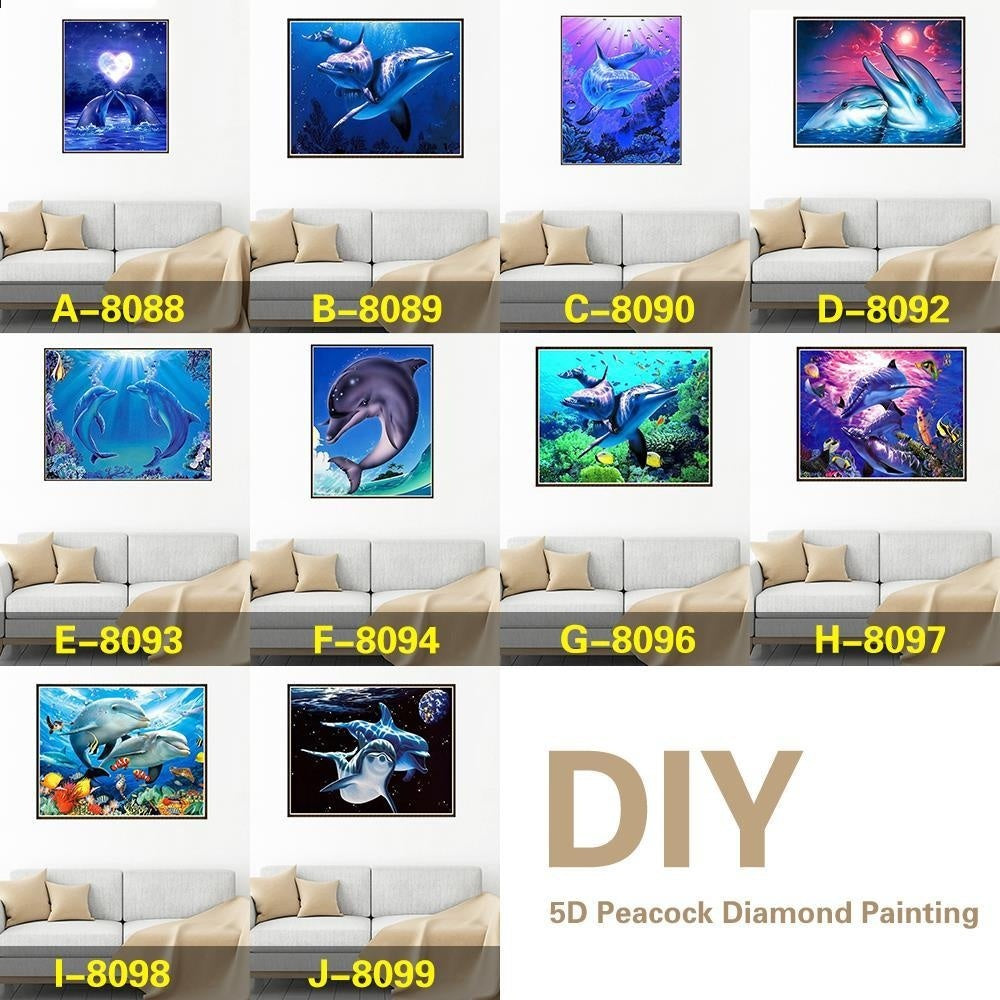 10 kinds / new DIY 5D Dolphin Diamond Painting Craft Set Family Decoration Painting  Cross stitch diamond painting kit